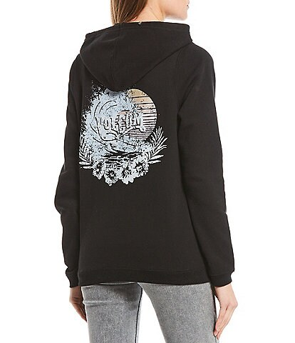 Volcom Volcation Sunset Wave Graphic Fleece Pullover Hoodie