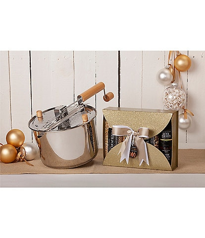 Wabash Valley Farms Stainless Steel Whirley Pop with Gold Glitter Gift Set