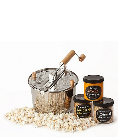 Wabash Valley Farms Stainless Steel Whirley-Pop Popcorn with Hull-less Kernels Kit