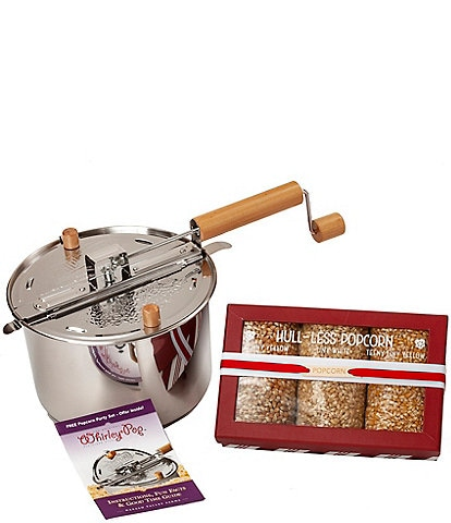 Wabash Valley Farms Stainless Steel Whirley Pop with Hull-less Popcorn Box Set
