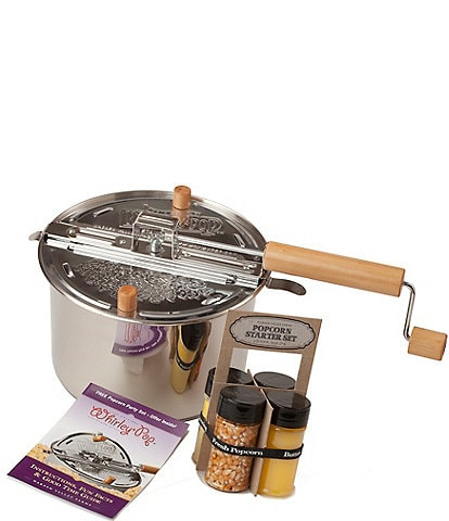 Wabash Valley Farms Stainless Steel Whirley-Pop Popcorn with Starter Pack Set