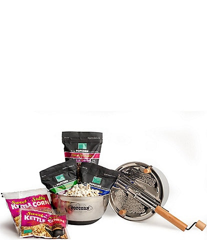 Wabash Valley Farms Stainless Steel Whirley-Pop with Sweet & Salty Kettle Corn Complete Set