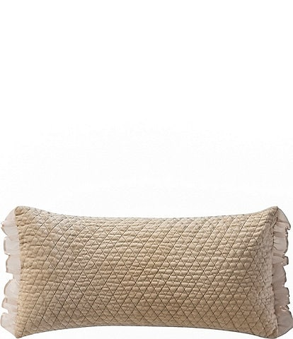 Waterford Ansonia Quilted Velvet & Ruffled Georgette Breakfast Pillow