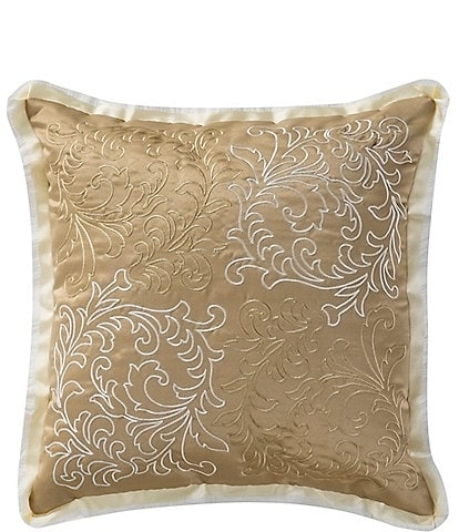 Waterford Ansonia Ribbon-Trimmed Scroll-Embroidered Square Pillow