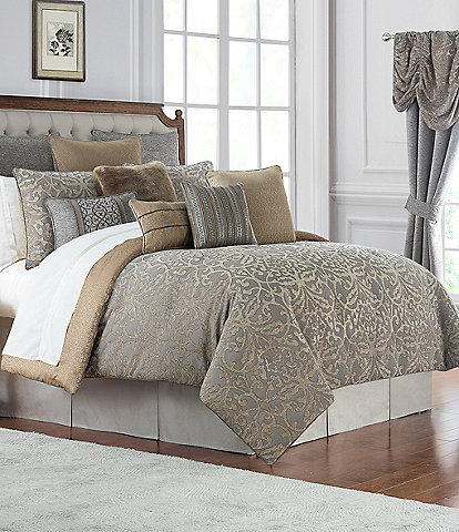 Waterford Carrick Scroll Damask Jacquard & Chenille Comforter Set