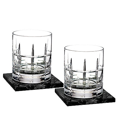 Waterford Crystal Cluin Double Old-Fashion Glasses with Marble Coaster