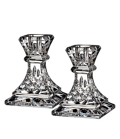 Waterford Crystal Lismore Candlestick Pair, 4#double;