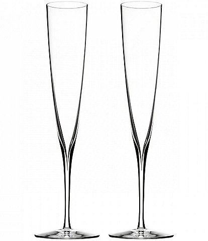 Waterford Elegance Crystal Champagne Trumpet Flute Pair