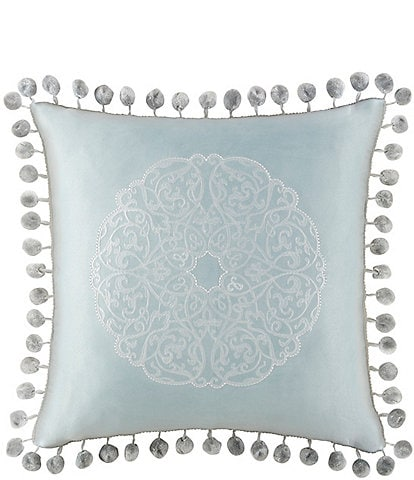 Waterford Jonet Ball-Fringed Medallion-Embroidered Satin Square Pillow