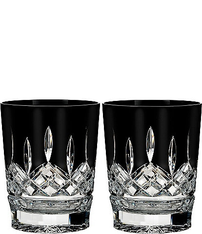 Waterford Lismore Black Crystal Double Old Fashioned Pair