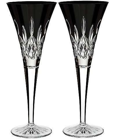 Waterford Lismore Black Crystal Flute Pair