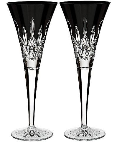 Waterford Lismore Black Crystal Flute Pair