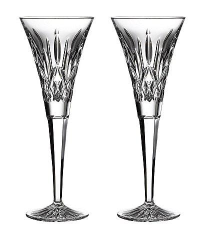 Waterford Lismore Crystal Wedding Toast Flute Pair