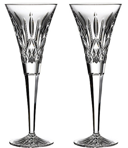 Waterford Lismore Crystal Wedding Toast Flute Pair