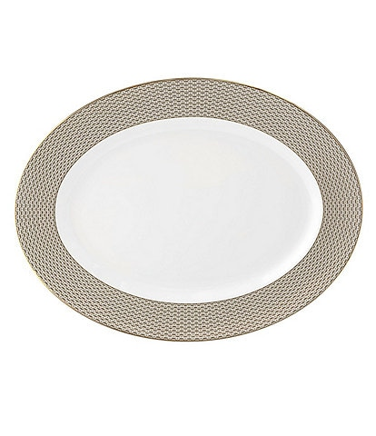 Waterford Lismore Diamond Gold Oval Platter