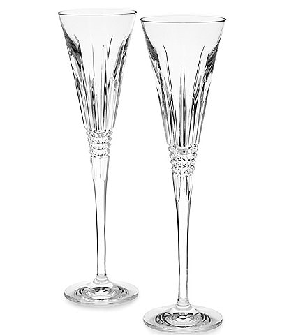 Waterford Lismore Diamond Prismatic-Cut Crystal Wedding Toast Flute Pair