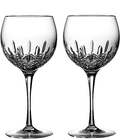 Waterford Lismore Essence Crystal Wine Balloon Pair