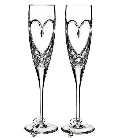 Waterford True Love Heart Wedding Toast Flute Pair