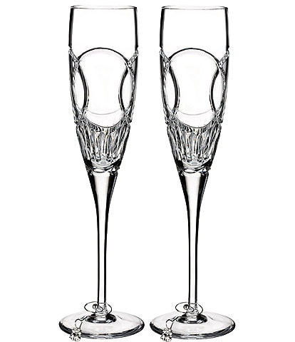 Waterford Wedding Vows Interlocking Rings Crystal Flute Pair