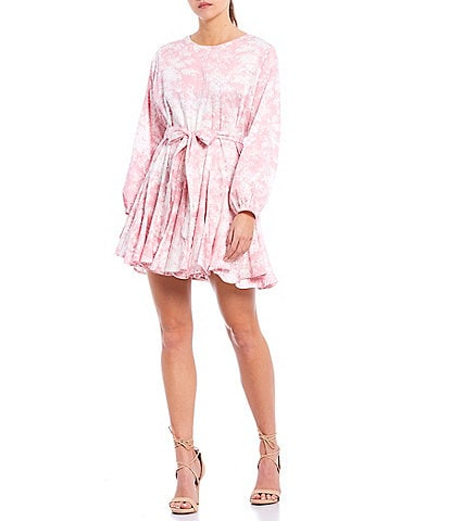 WAYF Altonia Floral Long Sleeve Tie Waist Ruffle Mini Dress