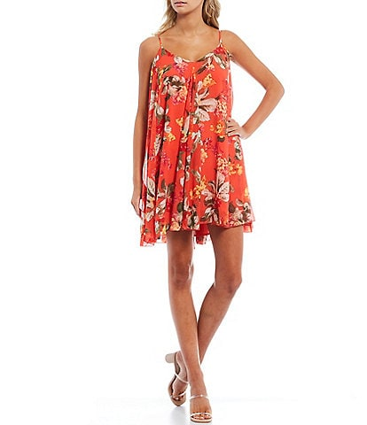 WAYF Autry Passion Floral Print V-Neck Sleeveless Mini Swing Dress