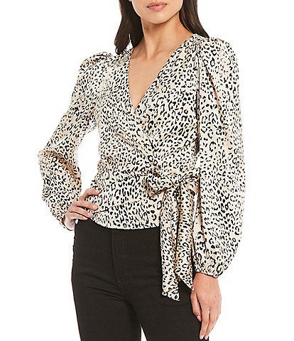WAYF Kora Animal Print Long Sleeve Wrap Top