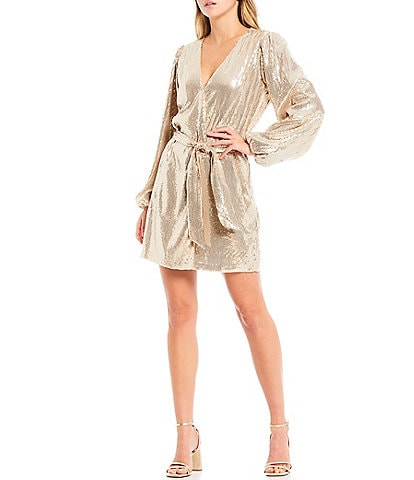 WAYF Long Puff Sleeve V-Neck Belted Sequin Wrap Dress