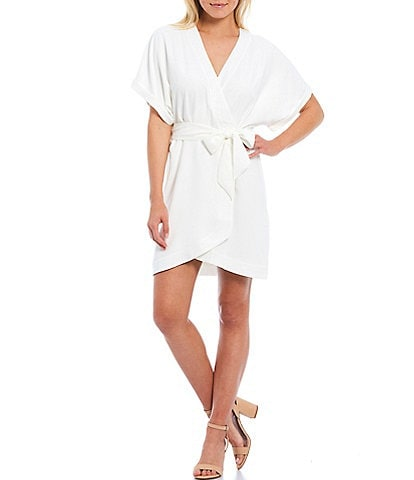 WAYF Sidony V-Neck Short Sleeve Dolman Wrap Dress