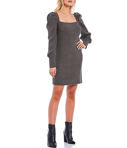 WAYF Square Neck Puff Sleeve Tie Back Sweater Dress