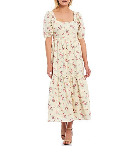 WAYF Whisper Floral Print Square Neck Puff Sleeve Tie Back Midi Tiered Dress