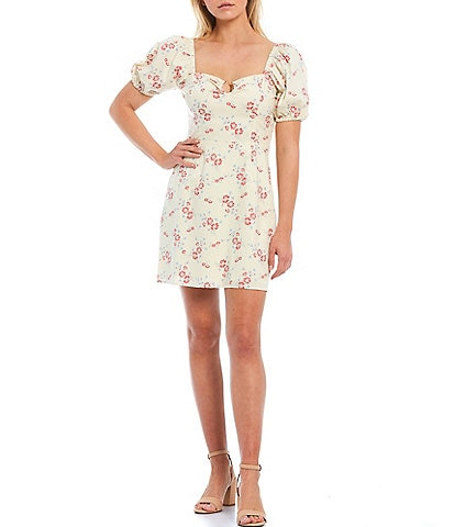 WAYF Whisper Floral Print Sweetheart Neck Puff Sleeve Mini Dress