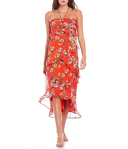 WAYF Zander Floral Print Tiered Halter Hi-Low Hem Woven Midi Dress