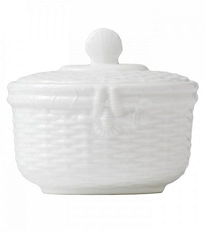 Wedgwood Nantucket Basket Sculpted Bone China Sugar Bowl with Lid
