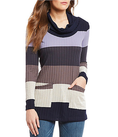 Westbound 2-Pocket Color Block Cowl Neck Tunic