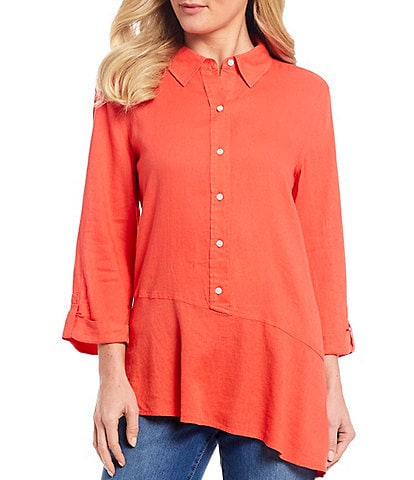 Westbound 3/4 Roll-Tab Sleeve Asymmetric Popover Tunic