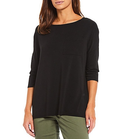 Westbound 3/4 Sleeve Boat Neck One-Pocket Tee