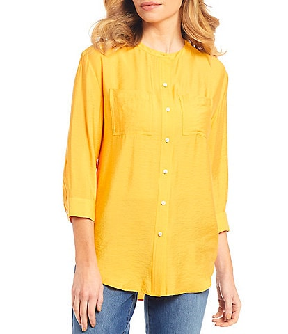Westbound 3/4 Sleeve Button Front Tunic