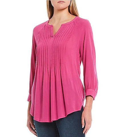 Westbound 3/4 Sleeve Pintuck Popover Top