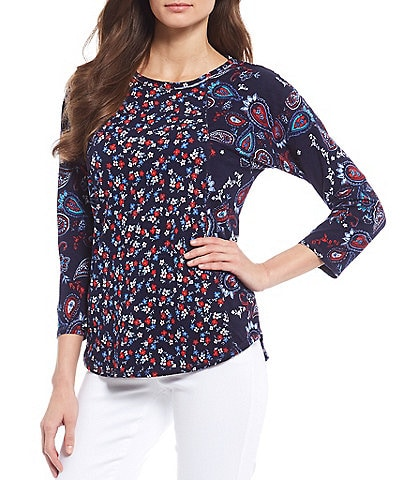 Westbound 3/4 Sleeve Seam Paisley Floral Tee