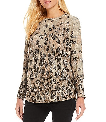 Westbound Animal Print Button Cuff Long Sleeve Ribbed Hem Knit Top