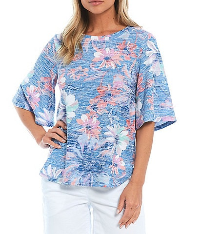 Westbound Artistic Floral Print Flounce Sleeve Top