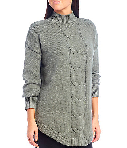 Westbound Cable Knit Funnel Neck Top