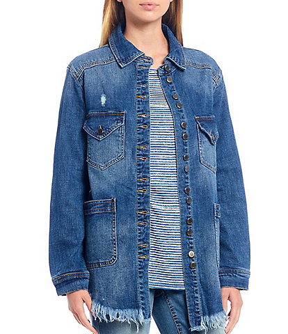Westbound Distressed Frayed Hem Denim Jacket