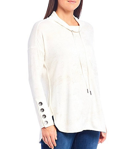 Westbound Foil Funnel Neck Button Cuff Knit Tunic Top