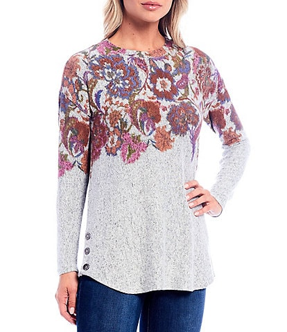 Westbound Folk Floral Print Long Sleeve Button Hem Top