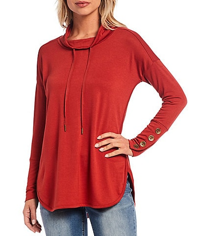 Westbound Funnel Neck Button Cuff Knit Tunic Top
