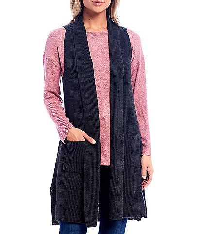 Westbound Heathered Two Pocket Open Front Long Vest
