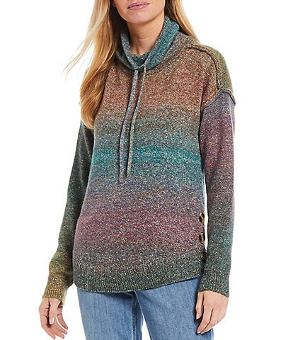 Westbound Long Sleeve Funnel Neck Button Hem Pullover