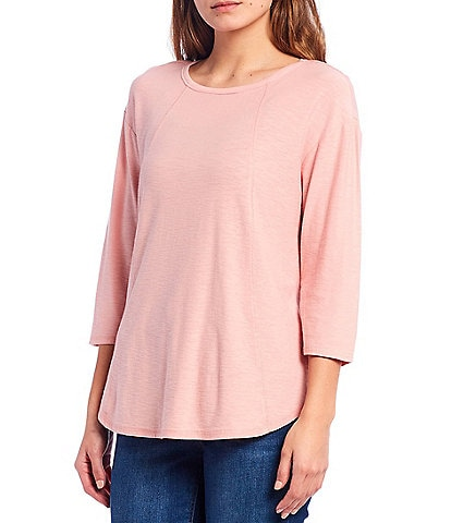 Westbound Petite Size 3/4 Sleeve Seam Solid Cotton Blend Tee