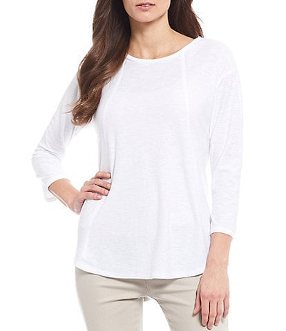 Westbound Petite Size 3/4 Sleeve Seam Solid Tee